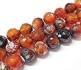 Perlas de ágata de fuego, 8 mm, facetadas, color marrón, natural, piedras preciosas sueltas, piedras semipreciosas para fabricación de joyas, 15 unidades