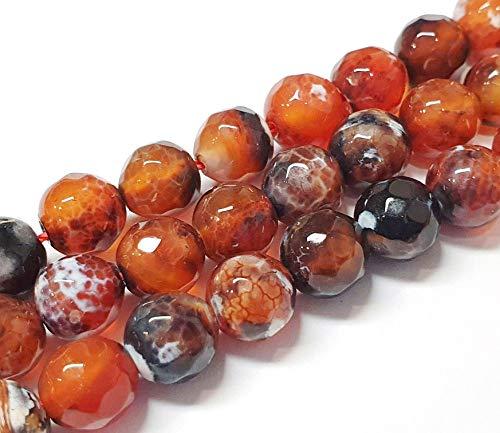 Feuerachat Perlen 8mm, Facettiert Braun Natur Achat Edelstein, Lose Perlen Halbedelsteine für Schmuckherstellung 15stk
