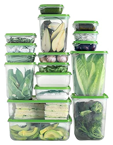 sacfun 17 Sets Plastic Food Storage Containers with Lids, (34 Pieces) Meal Prep Containers, Airtight Bento Lunch Boxes, BPA-Free && Leak Proof, Clear, Stackable, Easy Snap Lock- (Color : Green)