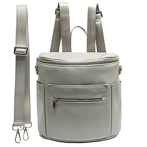 Leather Diaper Bag Backpack Purse by miss fong, Mini Backpack for mom with In bag organizer, Insulated Pocket and Shoulder Strap(Grey)