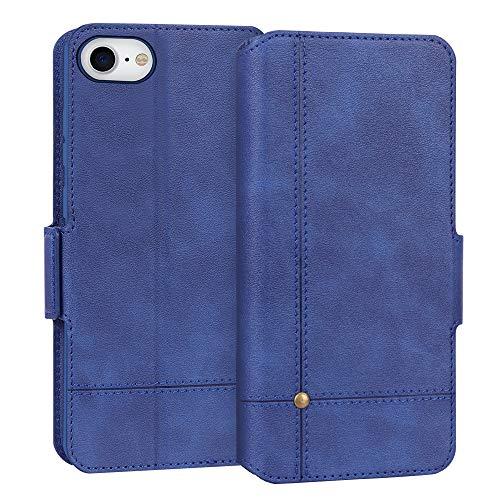 FYY Cover iPhone SE 2020 4.7'',Custodia iPhone SE 2020,Cover iPhone 8/7 4.7'',Flip Custodia da Portafoglio in Pelle PU Ultra Sottile Cover Protettiva con Slot per Schede per iPhone SE 2020/7/8-Blu