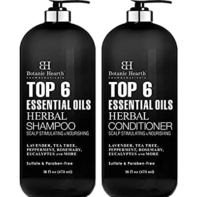 Top 6 Essential Oils Herbal Shampoo and Conditioner Set By Botanic Hearth - Sulfate & Paraben Free - Hair Growth Stimulating for Daily Use, Men and Women - 16 fl oz x 2