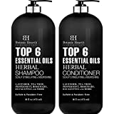 Sulfate Free & Paraben Free: Botanic Hearth Top 6 Essential Oils Herbal Shampoo & Conditioner Set, Sulfate Free & Paraben Free, made in USA Clean & Refreshed Scalp:Therapeutic hair cleanser with clarifying ingredients such as Lavender, Tea Tree, Pepp...