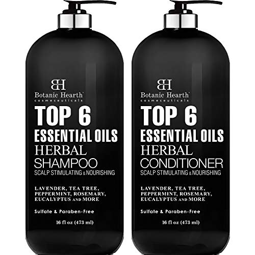 Top 6 Essential Oils Herbal Shampoo and Conditioner Set By Botanic Hearth - Sulfate & Paraben Free - Hair Growth Stimulating for Daily Use, Men and Women (Packaging May Vary) - 16 fl oz each