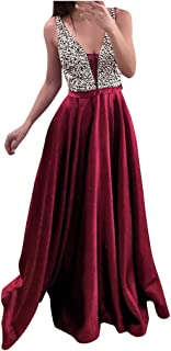 ReooLy Womens Sequins Formal Prom Long Dress, V-Neck Sleeveless Fashion Evening Party Gown