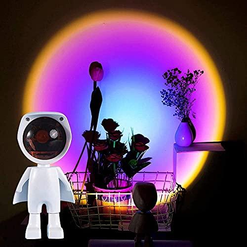 Proyector de luz nocturna Lámpara de puesta de sol, Arco iris Lámpara Lámpara Atmósfera Luz Ajustable Robot Figura Figura Proyector, Luces de noche para niños Luz de noche Puesta de sol para sala de e