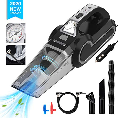 2020 New Handheld Vacuum,EnPro Vacuum Cleaner, 120W DC 12V Powerful Suction car Vacuum, with with Searchlight, Tire Pressure Gauge and Car Inflator Light Weight