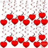 Red Heart Hanging Swirls for Valentines Decorations -...