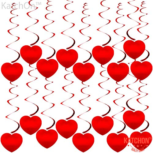 Red Heart Hanging Swirls for Valentines Decorations - Pack of 18 | Love Hearts Decorations for Anniversary | Hanging Hearts Swirls for Classroom, Romantic Special Night, Valentines Tree Decorations