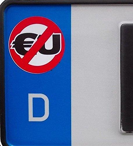 2x Anti-EU Kennzeichenaufkleber, Aufkleber, Autoaufkleber (Kennzeichen, Nummernschild,Gegen EU,EU-Feld,EU-Verbot)