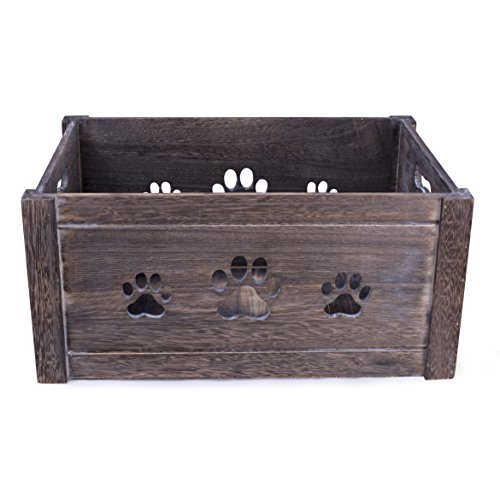 BASIC HOUSE Paw Shaped Cutout Dog Toys Chest Gift Hampers Storage Collection Box Wooden Crates Gift Hampers (Medium)