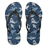 Mnsruu Underwater World - Tongs bleues en forme de requin - Pour la maison, l'hôtel, le spa, la chambre à coucher, le voyage - Taille M - Pour homme et femme
