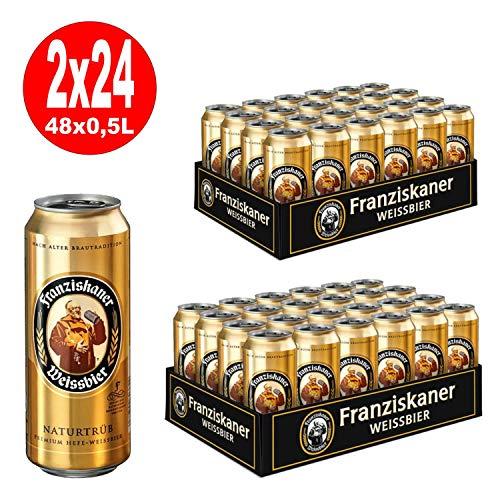 2 x Franziskaner Hefe Weissbier Hell Naturtrüb 24x 0.5L = 48 latas 5% Vol.- DE UNA SOLA MANO
