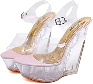 Womens Fish-Billed Wedge Sandals,Buckle Open Toe Adjustable Sandals,Summer Ankle Strappy Transparent Sandals BucklePromPartyShoes,Pink,37 EU