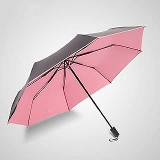 Sun Umbrella Umbrella Vinyl Umbrella Folding Umbrella Double with Three Folding Umbrella Sun Umbrella Huhero (Color : Pink)