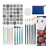 holilest Plantilla de Pintura, 52 Piezas Mandala Dotting Pen Tool Set para Pintar Rock Stone Acrylic Stick Brush