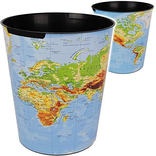 Papierkorb / Behälter - Weltkarte - Welt & Erde - Länder - 10 Liter - wasserdicht - aus Kunststoff - Ø 28 cm - großer Mülleimer / Eimer - Abfalleimer - Aufbew..