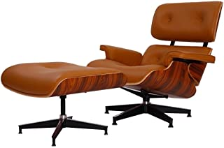 eMod - Mid Century Plywood Eames Lounge Chair & Ottoman Aniline Leather (Terracotta Palisander)