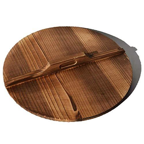 Grote Wok, Pan Set, oude stijl gietijzeren pan, ongestreken Non-Stick Cooker, Universal Gietijzer Wok-Houten Cover_32cm, inductie kookplaat/Vaatwasser, Wok Cook Book ZHANGKANG