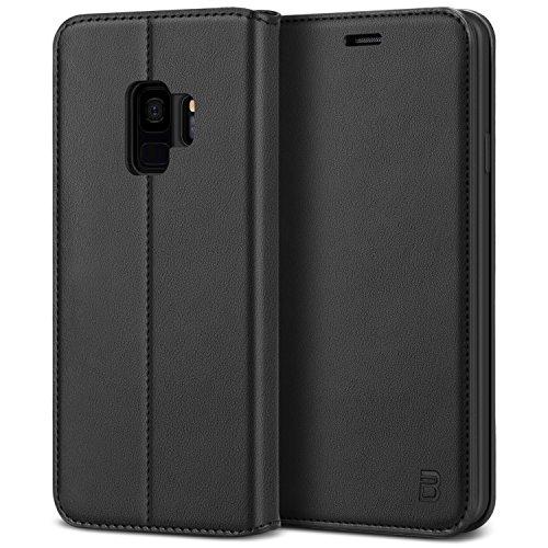 BEZ Hülle für Samsung Galaxy S9 Hülle, Premium Handyhülle Kompatibel für Samsung Galaxy S9, Tasche Hülle Schutzhüllen aus Klappetui mit Kreditkartenhaltern, Ständer, Magnetverschluss, Schwarz