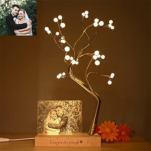 Lámpara fotográfica personalizada Luz acrílica Marco de fotos LED Árbol resplandeciente Luz nocturna Aniversario para mujeres(Luz amarilla)