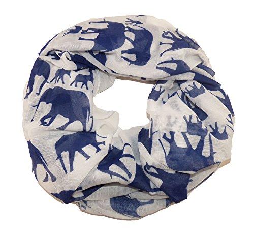IAG Loop Halstuch Tiermotive Elefant Weiss Blau