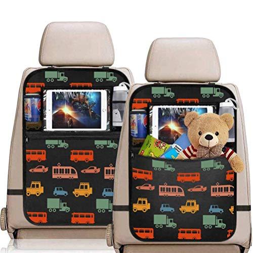 MEIZI - Protector de respaldo para coche, protector de espalda infantil, organizador para asiento trasero, organizador para asientos de coche, con bolsillo transparente para tablet (con estampado)