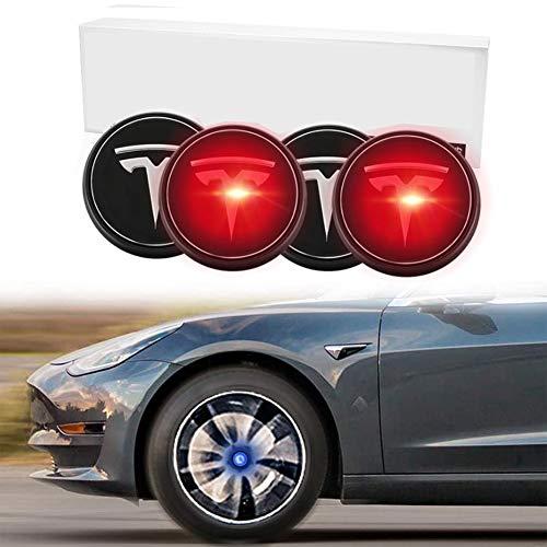 Logo 4PCS Cubo de Rueda Centro capsula Kit de Cubiertas, levitación magnética Emblema de luz LED Ambiente Tire Center lámpara de Tesla Model S 3 X,Rojo