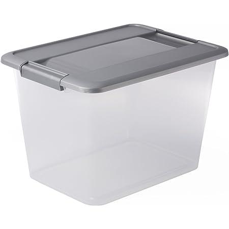 Sundis 4387006 Boîte de Rangement avec couvercle clipsable et poignées ergonomiques, Plastique, Transparent/Argent, 18L