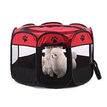 Bworppy Chien Pet Playpen, Chien Pliable Tente, Résistant à l'eau, Abat-Jour Amovible Pen Kennel pour Chien, Chat, Chiot (Rouge)