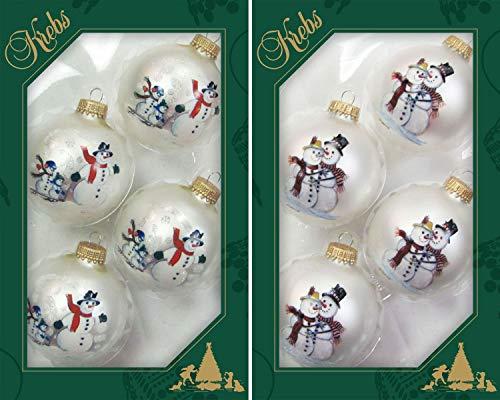 Dekohelden24 Original lauschaer Decorazioni Albero di Natale-Set di Palline con Pupazzi di Neve, 7. Silber mit Schneemänner