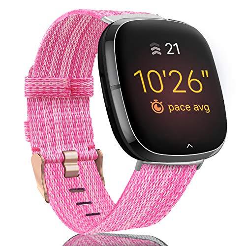 Onedream Correa Compatible para Fitbit Versa 3/ Sense Banda Hombre Mujere, Tejidas Nylon Tela Ligeras Rayas Repuesto Pulsera, Deportiva Ajustable Accesorios para Versa 3/ Sense (Sin Reloj)