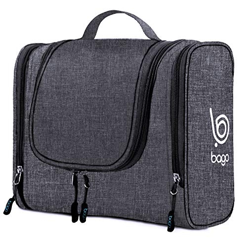 Bago Hanging Toiletry Bag for Women & Men - Leak Proof Travel Bags for Toiletries with Hanging Hook & Inner Organization to Keep Items from Moving - Pack Like a PRO (Snow Black)