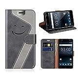 MOBESV Smiley Nokia 3 Hülle Leder, Nokia 3 Tasche Lederhülle/Wallet Case/Ledertasche Handyhülle/Schutzhülle für Nokia 3, Schwarz/Grau