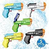 unanscre 5 Pack Water Pistol Gun for Kids(Assorted Random Colors), Unique-Shape and Durable Pump Action Outdoor Squirt Gun, Long-Range Shooting Water Blaster Soaker Gun for Pool/Beach/Yard/Party Play