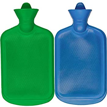 SteadMax Hot Water Bottle Natural Rubber -BPA Free- Durable Hot Water Bag for Hot Compress and Heat Therapy Random Colors  2 Pack