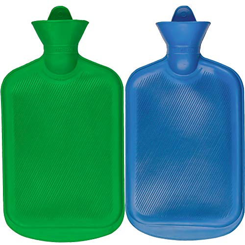Steadmax 2 Hot Water Bottles, Natural Rubber -Bpa Free- Durable Hot Water Bag For Hot Compress And Heat Therapy