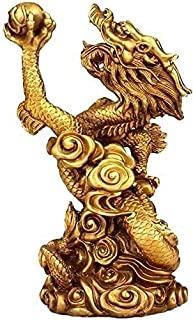 Golden Dragon Statue Sculpture Brass Collection Wealth Good Luck Home Office Table Top Decor Wine Cabinet 12X10X20CM