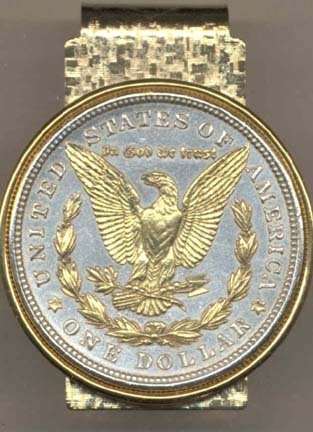 Hot Sale Reverse Morgan Silver Dollar (1878 - 1921) Two Tone U.S. Coin Hinged Money Clip