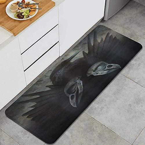 ZORMIEY Tapis Cuisine Antidérapant Tapis,Gothic Crow Spirit Wings Haunting Mysticism Dark Shadowy Occult Impression artistique,Lavable en Machine Tapis de Bain Paillasson Tapis de Sol Cuisine 45x120cm