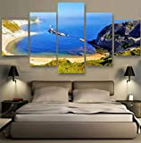 FJDHJ Canvas Prints 5 Pieces Modern Artwork Sea Cost Ocean Sand Man O'War Bay Pictures Photo Paintings On Wall Art Artwork Living Room Home Decorations Wall Decor (100x55cm)