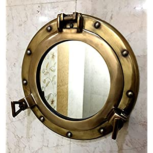 11.5″ Mirror Porthole Antique Finish Wall Ha...