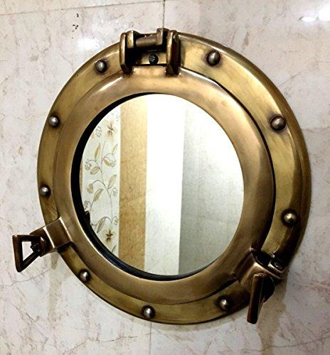 Miroir Hublot de 28 cm - Finition antique - à suspendre au mur
