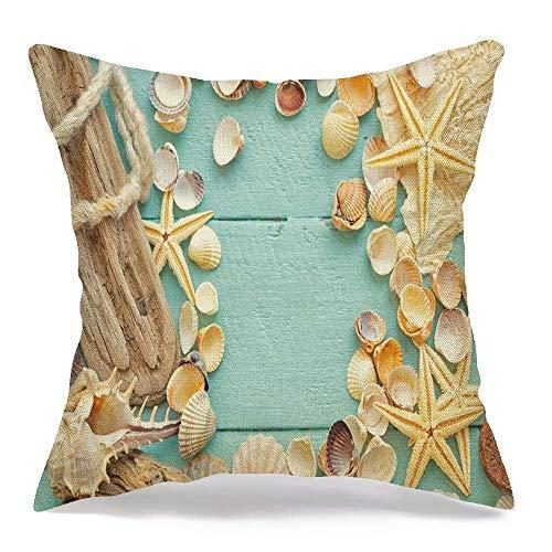 shenhaimojing Funda De Almohada Cuadrada,Funda De Almohada Conchas De Playa Verde Aguamarina Vintage Beauty Cord Deck Board Romántico Bobber Boya Celadon Exotic