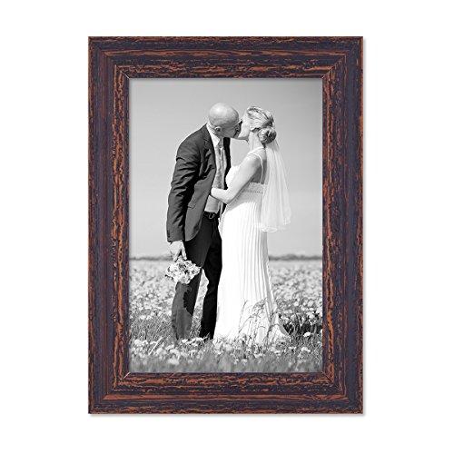 PHOTOLINI Vintage Bilderrahmen 21x30 cm/DIN A4 Holz Dunkelbraun Shabby-Chic Massivholz mit Glasscheibe und Zubehör/Fotorahmen/Nostalgierahmen