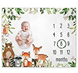 Woodland Baby Monthly Milestone Blanket, Woodland Animals Baby Growth Chart Monthly Blanket, Watch Me Grow Baby Woodland Forest Nursery for New Moms Baby Shower, Includes Marker (50'x40')