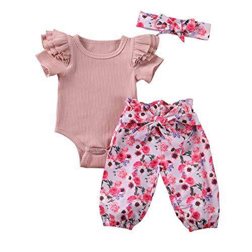 Carolilly - Conjunto de 3 piezas de ropa de bebé de algodón de verano con mangas volantes, estampado floral y diadema (0-2 años) Rosa 6-12 Meses