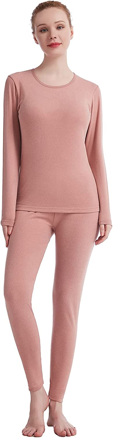 Thermal Underwear for Women Crew Neck Solid Ultra Soft Long John Sets Womens Long Underwear Moisture-Wicking Base Layer Gifts