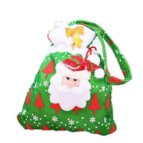 Demarkt 1 Pcs Sacs à Bonbons Mignon Impression Sac Cadeau de Père Noël Sac à Main pour Enfants Cartable Biscuits Chocolat Noël Mariage Anniversaire Fête Sac Sachet 20 * 24cm Vert