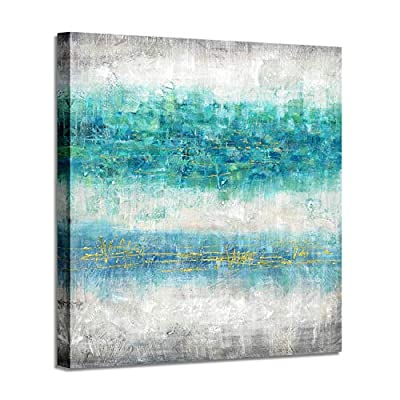 Contemporary Abstract Picture Wall Art: Teal and Gray Texture Hand Painted from Artistic Path